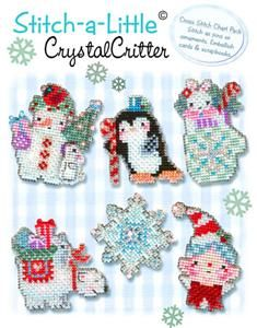 Stitch-a- Little- Crystal Critter Cross Stitch Patterns (BROOKE032) Embroidery Patterns by Brooke's Books Publishing