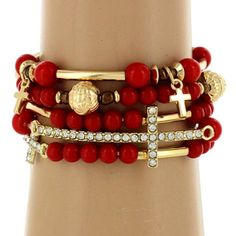 $6.25 5-Strand Red and Goldtone Beaded Cross Stretch Bracelet