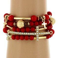 5-Strand Red and Goldtone Beaded Cross Stretch Bracelet