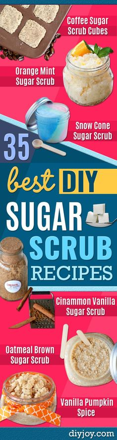 DIY Sugar Scrub Recipes - Easy and Quick Beauty Products You Can Make at Home - Cool and Cheap DIY Gift Ideas for Homemade Presents Women, Girls and Teens Love - Natural Recipe Ideas for Making Sugar Scrub With Step by Step Tutorials http://diyjoy.com/diy-sugar-scrub-recipes