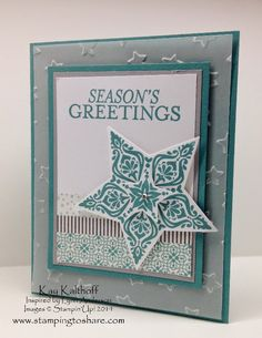 Bright & Beautiful over Lucky Stars on Vellum with a How To Video, Inspired by Lynn Anderson, Lucky Stars Embossing Folder, Stars Framelits, Kay Kalthoff is Stamping to Share with Stampin' Up!