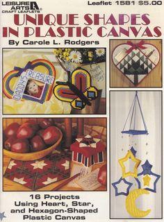 Unique Shapes, Leisure Arts Plastic Canvas Pattern Booklet 1581 Snowflakes Stars Butterflies & More