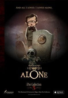 """""""And all I loved, I loved alone"""" E.Poe's Alone in iPoe collection Edgar Allan Poe, Tumblr Posts, Poetry, Christmas Ornaments, My Love, Holiday Decor, Illustration, Projects, Movie Posters"""