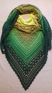This pattern includes a triangular shawl design, and a rectangular shawl design.