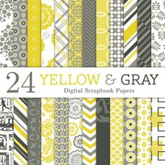 Yellow and Gray Digital Scrapbook Paper  by PerfectPrintables, $6.50    #StudioCalicoPinToWin  love the color combo!