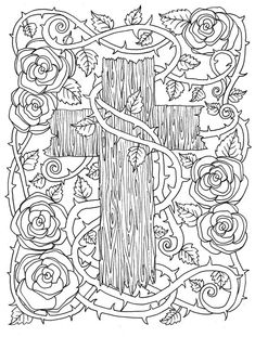 5 Digital Pages of Crosses to Color. Instant by ChubbyMermaid Coloring Pages For Grown Ups, Love Coloring Pages, Printable Adult Coloring Pages, Mandala Coloring Pages, Coloring Books, Coloring Sheets, Fairy Coloring, Cross Coloring Page, To Color