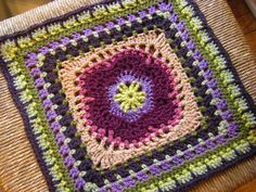 "Lace Petals 12"" square. Crochet square pattern Available free on Ravelry."