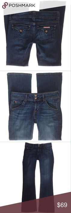 """[Hudson Jeans] Signature Petite Bootcut Sz 27 Hudson Jeans Signature Petite Bootcut Sz 27 Cut #A03705 Style # WP170DHK Color TRX   * Button closure back pockets * Zip fly w/ 2 button closure * 5 pocket design * Condition:  Excellent Used Condition  Measurements are approximate & taken w/ jeans flat & unstretched: Hip:  15 1/2"""" (front seam to seam) Front rise:  8"""" Back rise:  12 3/4"""" Inseam:  30"""" Out seam:  38"""" L (waist to hem) Thigh:  6 3/4"""" Leg Opening:  8"""" (seam to seam), 17""""…"""