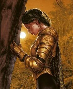 Lady Knight praying before going into battle for her King. Put on the whole armor of God.