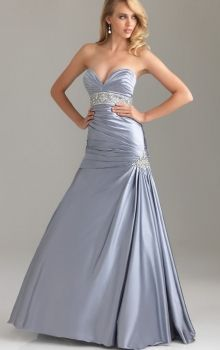 Silver Mermaid/Trumpet Strapless,Sweetheart Dropped Long/Floor-length Sleeveless Side-Draped Satin Sweep/Brush Train Zipper Up Prom Dresses ...