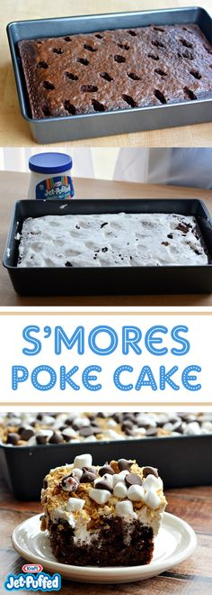 Bring a camping favorite indoors all year round with S'mores Poke Cake! This scrumptious s'mores poke cake uses chocolate cake mix, marshmallow crème and crushed graham crackers to get its s'mores-style flavors. Desserts To Make, Köstliche Desserts, Dessert Recipes, Yummy Treats, Sweet Treats, Yummy Food, Smores Cake, Poke Cake Recipes, Chocolate Cake Mixes