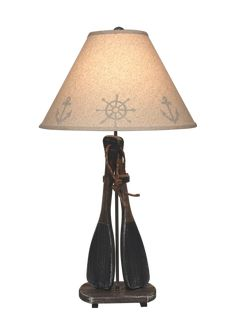 """A fun addition to your beach cottage or lake cabin, enjoy this 31"""" tall Walnut and Navy 2-Paddles Table Lamp with decorative rope wrapped handles. Manila Rope, Lakeside Living, Lake Cabins, Construction Materials, Navy Color, Beach Cottages, Solid Wood, Table Lamp, Bulb"""