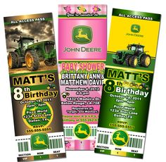 John Deere Tractor Girl Personalized Birthday Invitation 2 Sided
