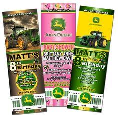 Custom John Deere Tractor Baby Shower Birthday Party Ticket Invitations