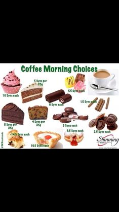 we are visiting more people and going out shopping and stopping for a coffee is going to happen. a nibble usually happens too More astuce recette minceur girl world world recipes world snacks Slimming World Syns List, Slimming World Sweets, Slimming World Syn Values, Slimming World Recipes Syn Free, Slimming Eats, Slimming Word, Low Syn Treats, Syn Free Food, No Calorie Foods