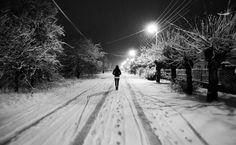 Snow Night  alone HD Wallpaper