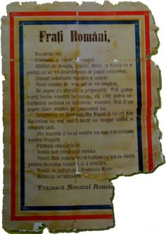 An airborne leaflet dropped to ethnic Romanian populations of the Austro-Hungarian Empire, calling on them to support their motherland.