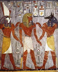 RAMSES I acompañado de los dioses HORUS a la izquierda y ANUBIS a la derecha  a la celebración del Juicio Final ante el Tribunal de Osiris.