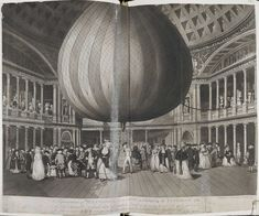 Full: Front Scene inside the Pantheon in Oxford Street; the balloon rising below dome in centre, while a crowd looks on. 1784 Etching and aquatint © The Trustees of the British Museum Oxford Street London, Joseph, London Metropolitan, Balloon Flights, Richmond Park, British Library, British Museum, Westminster, Balloons
