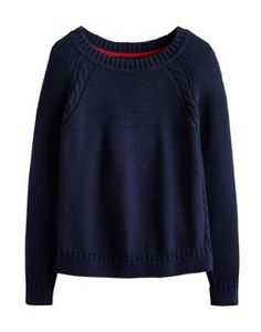 Joules Womens A Line Sweater, French Navy.                     This sweater has got us talking texture. With intricate stitch and cable knit detail, it's A-line shape is feminine, flattering and a great way to keep warm too. Crafted with a touch of wool for extra warmth and comfort.
