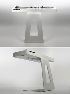 DJ tables by David Kornmann.  Taking design cues from Apple, this is what DJ tables look like in Cupertino.  Via Core77.com