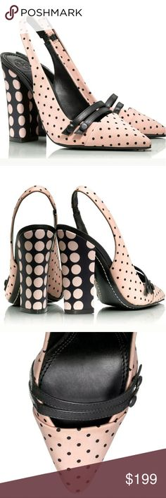 Tory Burch 8 Kay Polka Dot Sling Back Heels Do it up in dots, done two ways. Polished and graphic in printed silk twill, the pointy-toe silhouette features slim buttoned straps and a tall yet stabilizing block heel. It?s an easy way to bring the season?s key spotted motifs ? and flattering height ? to day or evening looks. Textile and leather upper, leather sole  ? Pointed toe ? Dual strap vamp ? Slip-on with slingback ? Lightly padded footbed ? Heel height: 4.38'' (110 mm) Tory Burch Shoes…