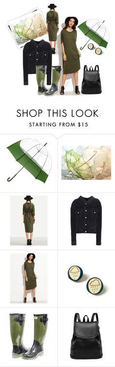 """Rainy day"" by danceofthesoul ❤ liked on Polyvore featuring Hunter, GALA, Balenciaga, Summer, GREEN, dress, rain and umbrella"