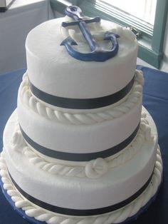 https://flic.kr/p/7onrEU | Cakes Anchor 2009 | Fondant ropes with blue satin ribbon
