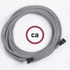 LAN-Kabel - Ethernet Cat 5e - RJ45 Rund überzogen mit Textil-Seideneffekt Zick-Zack Schwarz RZ04