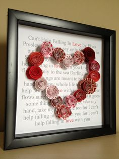 Song Lyrics, Paper Art, with paper roses, custom with your song and colors, for wedding or anniversary gifts