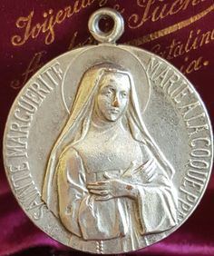 Vintage French St. Margaret Mary Alacoque  (Saint Margaret)  Sacred Heart of Jesus Silver Plated Medal Pendant signed Revillon by PinyolBoiVintage on Etsy