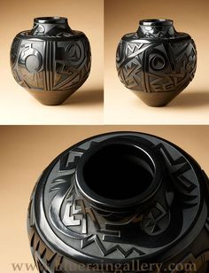 "Tammy Garcia, Untitled, Carved Blackware Pottery Jar, natural clay, 11""h x 10""w, 2007, at Blue Rain Gallery."