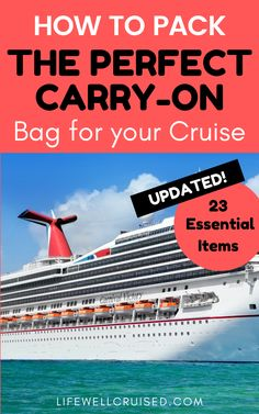 UPDATED - Packing a cruise carry on bag is essential for a cruise vacation. This cruise carry on packing list has been updated to included the items you'll need most on a cruise ship for the first day, once cruises resume and sail again. A must-read and save even if you've cruised in the past! #cruisepacking #cruisecarryon #cruising #cruisetips #cruises
