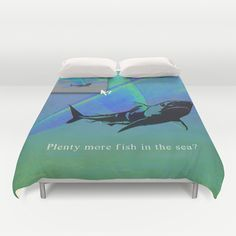 plenty+more+fish+in+the+sea?+Duvet+Cover+by+Gl♞t€h+-+$99.00 shark