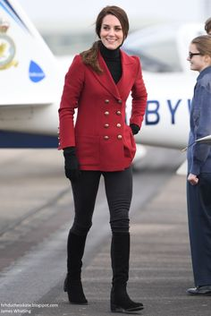 Duchess Kate: Kate in Red Philosophy Blazer for Valentine's Day with RAF Cadets & A Trip to Paris!