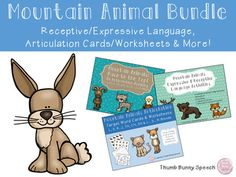 This bundle is perfect for a week long of thematic mountain animal activities!  It encompasses activities targeting receptive and expressive language, articulation and more - covering a huge part of your caseload needs! This bundle includes 3 different products:Mountain Animals: Expressive & Receptive Language ActivitiesMountain Animal Articulation - Cards & Worksheets L, S, R, J, TH, CH, SH & BlendsMountain Animal Articulation: Race To The Top!(Please see the bottom for additiona...