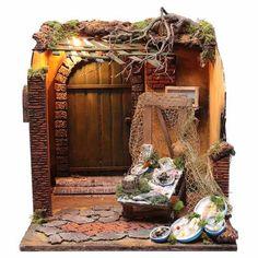 Ambientazione pescheria presepe 24 cm di Napoli 40x40x43 cm | vendita online su HOLYART