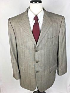 ERMENEGILDO ZEGNA Blazer Mens 46 Gray WOOL 3 Button Sport Coat Jacket 46R #ErmenegildoZegna #ThreeButton