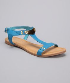 $8.99 Blue T-Strap Darlene Sandal by Jacobies Footwear on http://www.zulily.com/invite/acy185