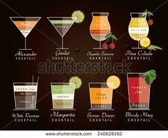 collection of alcoholic cocktail drinks with recipe measurements- vector illustration icons in trendy flat design style isolated on dark background