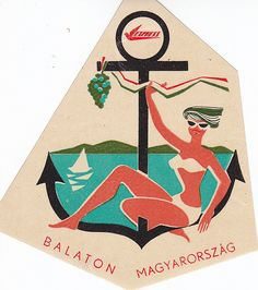 Lake Balaton, luggage label.