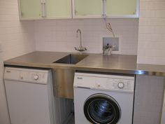 Cool Laundry Room Sink Designs Idea Brown Small Sinks Set Between Washing Machine Under Green Cabinet