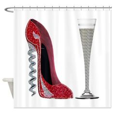 Red Sparkle Corkscrew Stiletto and Champagne Flute by ckeenart - CafePress Modern Shower Curtains, Stiletto Shoes, Shoe Art, Fashion Heels, Womens High Heels, Jimmy Choo, Christian Louboutin, Sparkle, Flute
