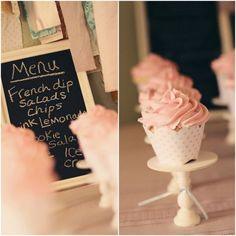 The cupcake stands were created using round unfinished pieces of wood and unfinished candle sticks, which she spray painted white and hot glued