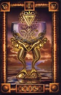 Ace of Cups from the Tarot of Dreams by Ciro Marchetti - this is the one deck from him I don't have yet. Must add to my collection...