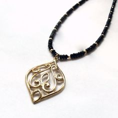 Droplet pendant, golden brass pendant, Unique necklace for her, casual black onyx necklace, large necklace, ornate necklace - Darling N2026