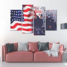USA and New Zealand Flag Multi Panel Canvas Wall Art
