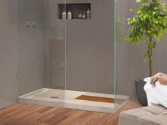 Beige Oco shower tray - contemporary - showers - The Bath Collection