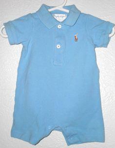 Boys Ralph Lauren Outfit One Piece Onesie Polo Pony 0-3 Months Baby Blue Infant $9.99  #Ralph Lauren #Designer #Infant #babyboy #romper