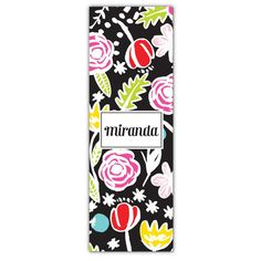 Black Blossomy Personalized Yoga Mat
